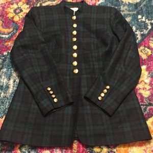 Green and navy Plaid military style coat